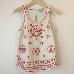 Lucky Brand Bohemian Embroidered Tank Top